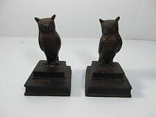 Vintage Owl Metal Bookends Bronze Finish Made in India