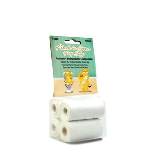 PetBro Flush 'n Gone Poop Bag - Biodegradable, Compostable, Flushable! (40 Bags)