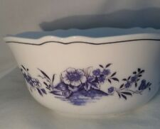 Arcopal White with Blue Floral Pattern Serving Bowl, France
