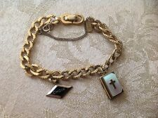 Vintage Gold Toned Monet Bracelet With Two Gold Filled Charms