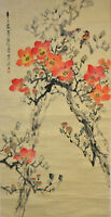 Vintage Chinese Watercolor FLOWER BIRD Wall Hanging Scroll Painting w SEAL MARK