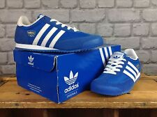 ADIDAS UK 4 EU 36 2/3 BLUE WHITE SUEDE DRAGON TRAINERS RRP £60 CHILDRENS LADIES