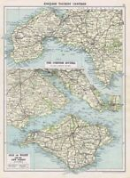ISLE OF WIGHT & CORNISH RIVIERA Vintage Map 1926 by Philip & Son