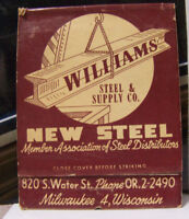 Rare Vintage Matchbook Cover V2 Milwaukee Williams New Steel Supply Co Wisconsin