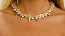 Gold Spike And Diamante Necklace