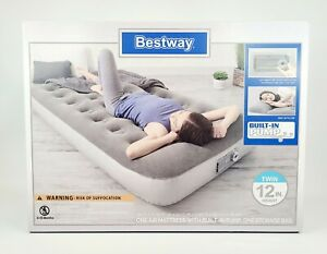 """Twin Size Air Bed Mattress Inflatable Built-In Pump Pillow Storage Bag 74""""×39"""""""