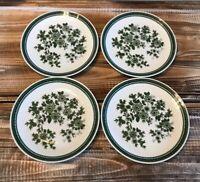 "Vintage Seltmann Weiden Bavaria Green Floral Plate Set of 4 W. Germany 7.5"""