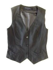 Ladies waistcoat French Connection Size 10 Black self stripe Good Christmas VR2