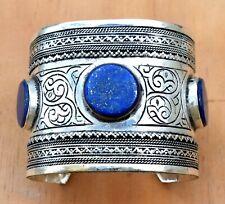 Lapis Lazuli Stone Silver Kuchi Cuff Bracelet Ethnic Jewelry Blue Ethnic Tribal