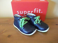 Boys SUPERFIT 381 Navy LEATHER Lace BOOT UK 4 Eur 20 NEW!