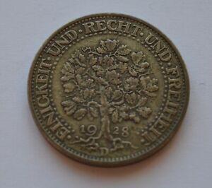 1928 D Germany 5 Marks Oak Tree Silver Coin