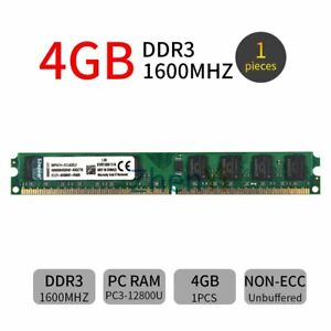 4GB DDR3 1600mhz PC3-12800U 240Pin DIMM Intel Desktop Memory SDRAM For Kingston