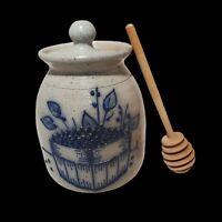 Salmon Falls Stoneware Honey Pot lid BlueBerry Vine Dover N.H. Pottery Vintage