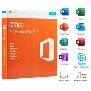 Microsoft Office Professional Plus 2016 1 PC DVD Windows User License Lifetime