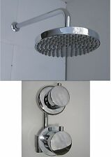 THERMOSTATIC SHOWER VALVE TAP, ROUND RAIN HEAD & WALL ARM, BRASS & CHROME, 142N