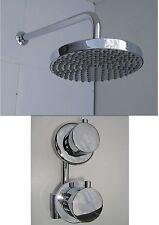THERMOSTATIC SHOWER VALVE TAP, ROUND RAIN HEAD & WALL ARM, BRASS & CHROME, 142N