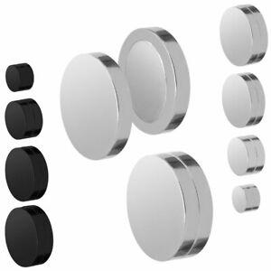 magnetische Fakeplugs Ohrringe ohne Ohrloch Ohrclips in schwarz oder silber