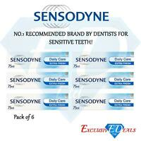 6 x Sensodyne Toothpaste Daily Care Extra Fresh For Sensitive Teeth - 75ml