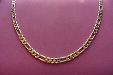 "24"" 18K GOLD FILLED QUALITY BONDED FIGARO CHAIN. 10 YEAR WARRANTY 4MM Wide CHAIN"