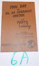 1950 CAT CATERPILLAR TOOL BAR AND No. 44 HYDRAULIC CONTROL PARTS CATALOG  S