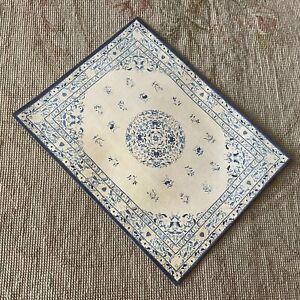 Dollhouse Miniature Canvas Floorcloth Covering Rug Carpet Blue & White 487