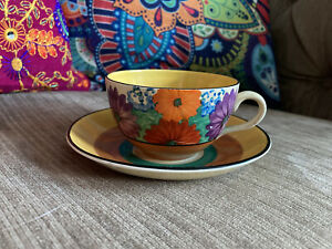 Clarice Cliff Gayday Globe Cup And Saucer