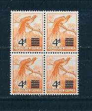 PAPUA & NEW GUINEA 1957 DEFINITIVES SG16 4d on 2½d OVERPRINT BLOCK OF 4 MNH