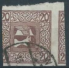 1908-10 AUSTRIA USATO GIORNALI TESTA DI MERCURIO 20 H - A111