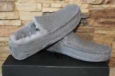 NIB UGG Men's ASCOT Wool UGGPure Lined Slip On Moccasin Slippers GRAY 9