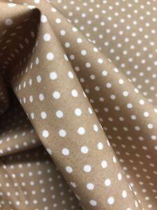 Taupe/brown/beige spot dress/craft cotton poplin fabric (IDEAL FOR FACE MASKS)