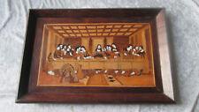 Très rare Tableau religieux la Cène en marqueterie attribué à Paul Spindler
