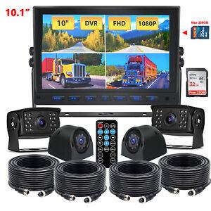 10.1''Quad Split Monitor DVR+4PIN AHD Side/Rear View Backup Camera Truck Caravan