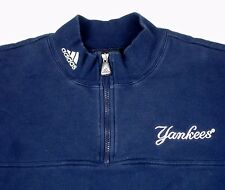 NY Yankees Adidas 1/4 Zip Blue Fleece Pullover L MLB EUC