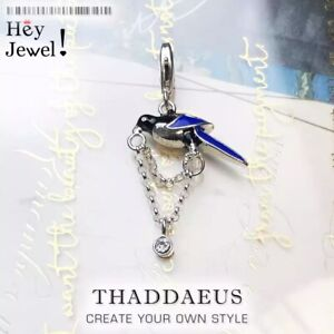 925 Sterling Silver Magpie Bird Charm for Bracelet Anime Chaveiro Lucky Piercing