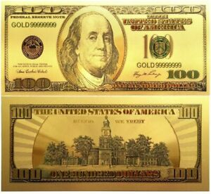U.S. 100 Dollar thick gold foil plastic note, # GOLD99999999