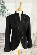 TOAST Black Wool & Cotton blend military style jacket size 12
