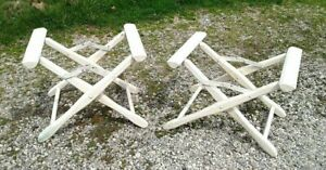 2 Directors White Wood Folding Chair Frame Bottoms