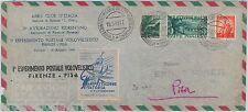 REPUBBLICA - ESPERIMENTO POSTALE VOLOVELISTICO Firenze - Pisa 1949  GLIDING