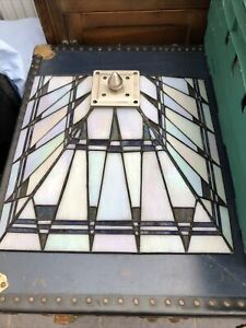 Lead and Glass Tiffany Style Light / Lamp Shade. 41cm Sq. Vgc