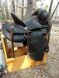 Circa 1900 O J Snyder, Denver Co. Antique Western  High Back Saddle Wide swell