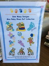 """SEW MANY DESIGNS MACHINE EMBROIDERY CD-""""MOO BABY BLUE 5 X 7 COLLECTION"""