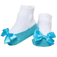 Mary Jane Socks Anti Slip With A Bling! Sparkle Infant Socks, Light Blue