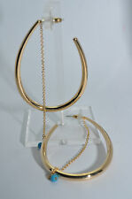 JULES SMITH Yellow Gold Plated EDIE Turquoise Chain Hoop Earrings