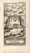Stampa antica POZZUOLI Accademia di Cicerone Napoli 1743 Old print