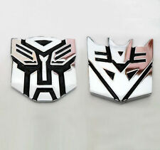2PC 3D Transformer Autobot Decepticon Alloy Metal Car Decal Emblem Badge Sticker