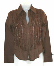 MANGO SMALL UK8 EU36 BROWN COTTON LONG-SLEEVED BLOUSE WITH FRILLS AND SEQUINS