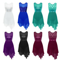 Womens Lyrical Dance Dress Skate Ballet Stage Costume Gymnastics Sequins Leotard
