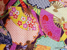 Japanese Quilt Fabric Purple Gold Multi Coloured Fans Textured Cotton FQ