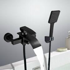 Schwarz Badewannenarmatur Duschset Wasserhahn Badewanne Wasserfall mit Brasue