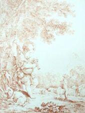 L'amusement du berger Chien Rococo Francois Boucher Lithographie XIXe